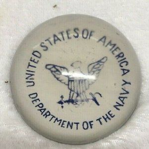 Glass Dome Paperweight USA Department of NAVY